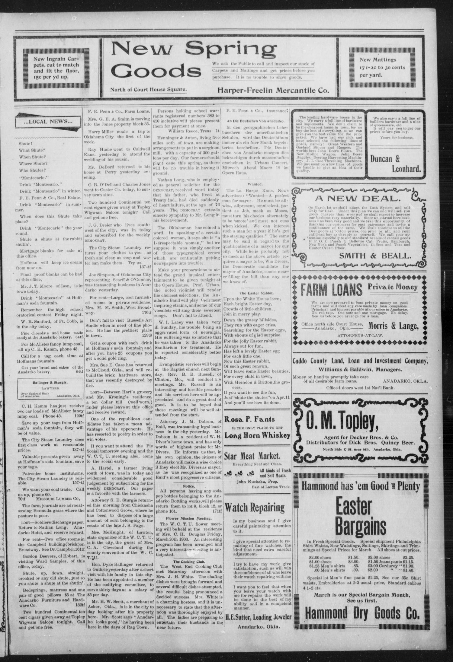 Anadarko Daily Democrat. (Anadarko, Okla.), Vol. 2, No. 174, Ed. 1, Wednesday, March 18, 1903                                                                                                      [Sequence #]: 3 of 4