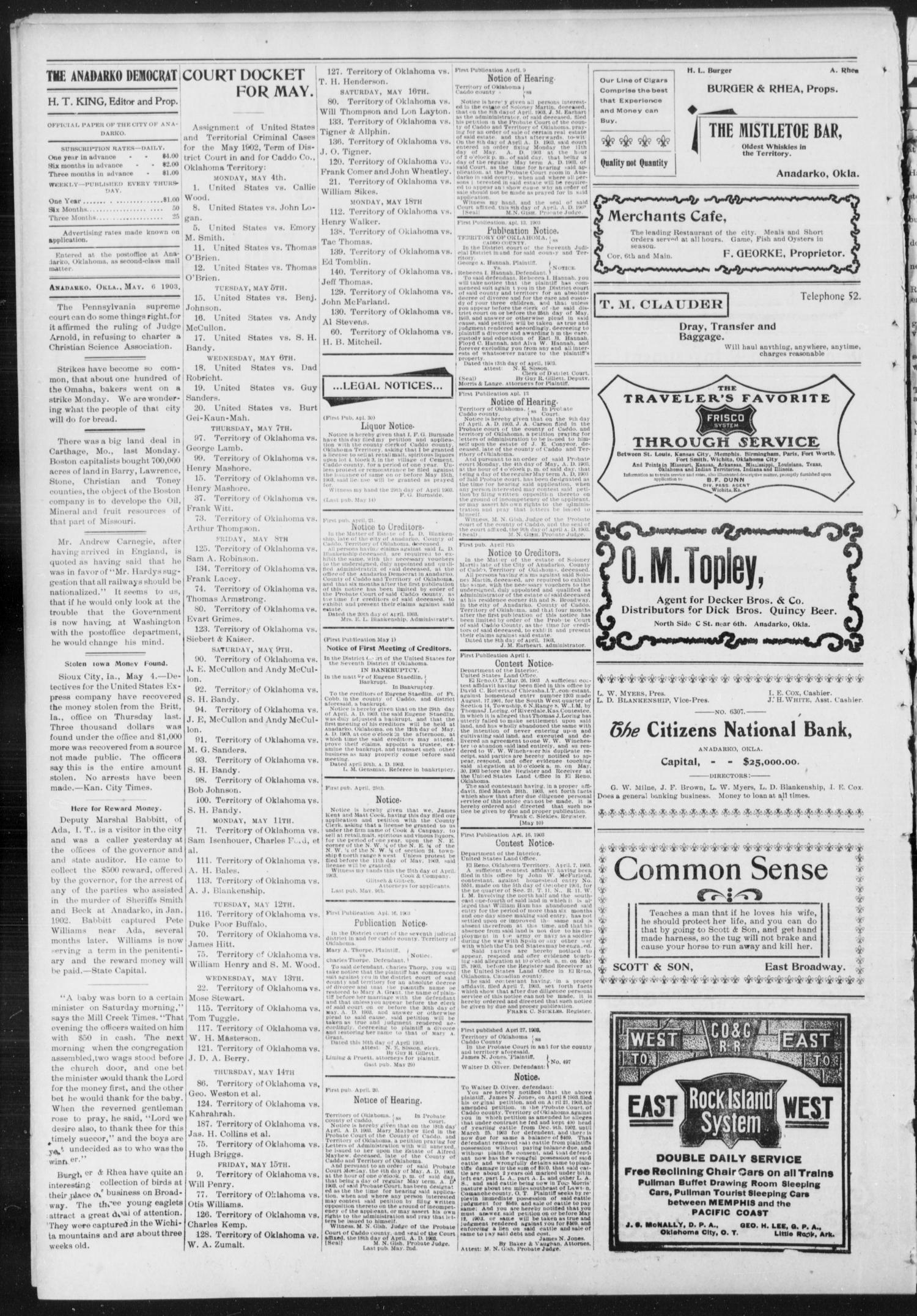 Anadarko Daily Democrat. (Anadarko, Okla.), Vol. 2, No. 214, Ed. 1, Wednesday, May 6, 1903                                                                                                      [Sequence #]: 2 of 4