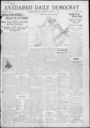 Primary view of object titled 'Anadarko Daily Democrat (Anadarko, Okla.), Vol. 8, No. 11, Ed. 1, Wednesday, February 10, 1909'.