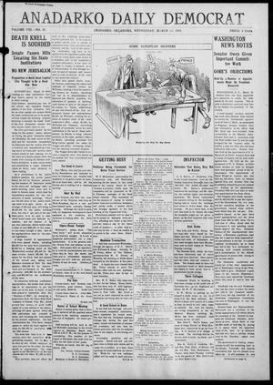 Primary view of object titled 'Anadarko Daily Democrat (Anadarko, Okla.), Vol. 8, No. 35, Ed. 1, Wednesday, March 10, 1909'.