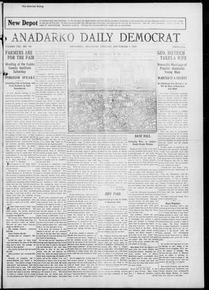 Primary view of object titled 'Anadarko Daily Democrat (Anadarko, Okla.), Vol. 8, No. 186, Ed. 1, Tuesday, September 7, 1909'.
