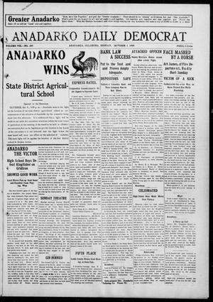 Primary view of object titled 'Anadarko Daily Democrat (Anadarko, Okla.), Vol. 8, No. 209, Ed. 1, Monday, October 4, 1909'.