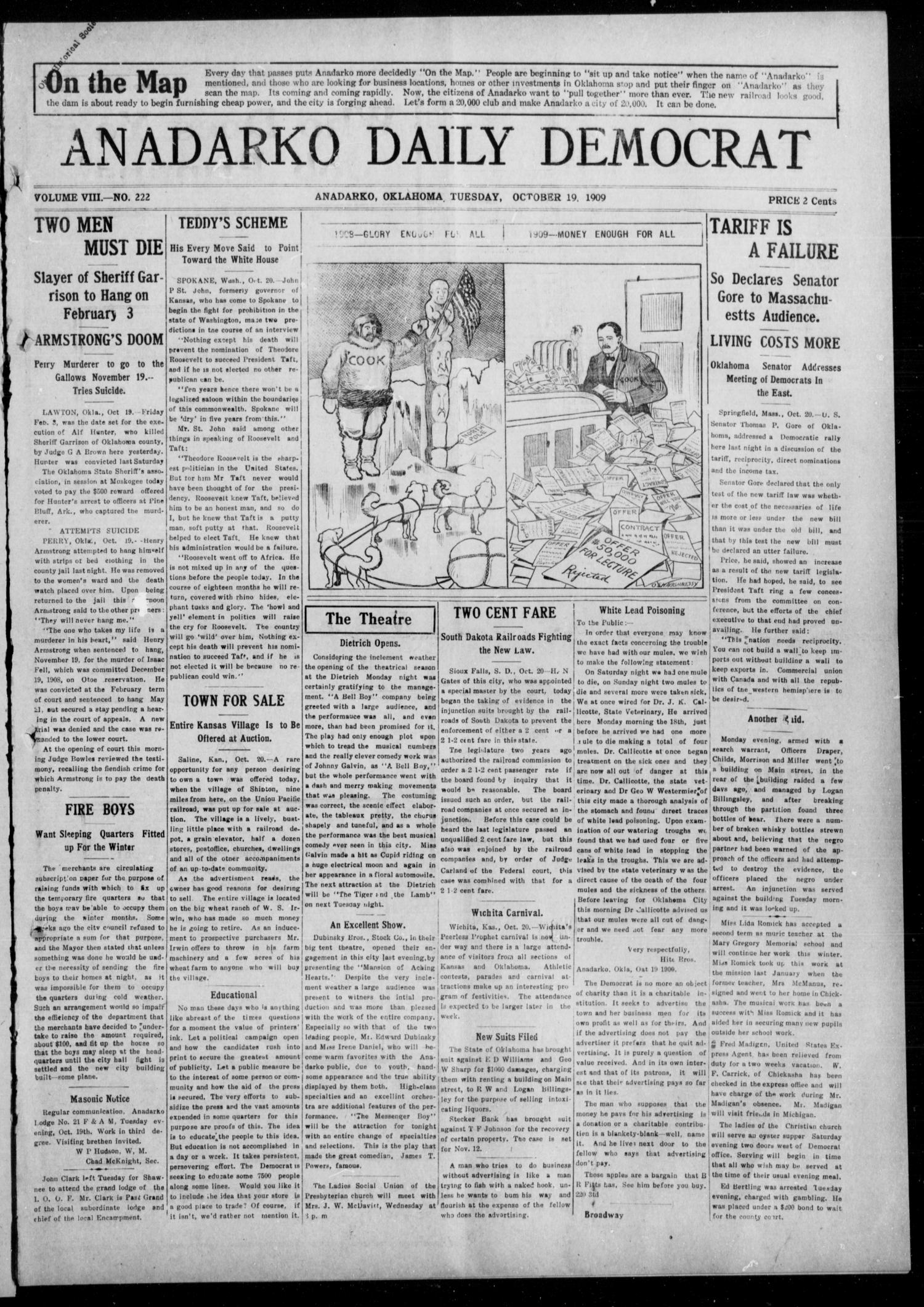 Anadarko Daily Democrat (Anadarko, Okla.), Vol. 8, No. 222, Ed. 1, Tuesday, October 19, 1909                                                                                                      [Sequence #]: 1 of 4