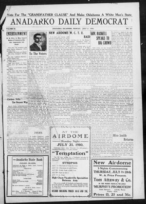 Primary view of object titled 'Anadarko Daily Democrat (Anadarko, Okla.), Vol. 9, No. 143, Ed. 1, Monday, July 25, 1910'.