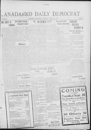 Primary view of object titled 'Anadarko Daily Democrat (Anadarko, Okla.), Vol. 9, No. 187, Ed. 1, Thursday, September 15, 1910'.