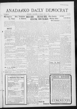 Primary view of object titled 'Anadarko Daily Democrat (Anadarko, Okla.), Vol. 9, No. 206, Ed. 1, Thursday, October 6, 1910'.
