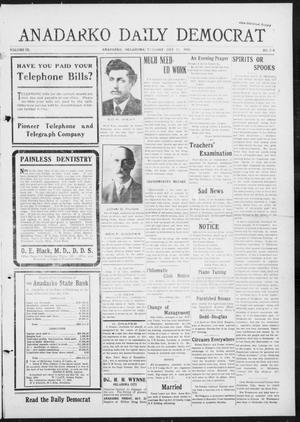 Primary view of object titled 'Anadarko Daily Democrat (Anadarko, Okla.), Vol. 9, No. 210, Ed. 1, Tuesday, October 11, 1910'.