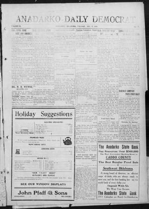 Primary view of object titled 'Anadarko Daily Democrat (Anadarko, Okla.), Vol. 9, No. 274, Ed. 1, Tuesday, December 27, 1910'.