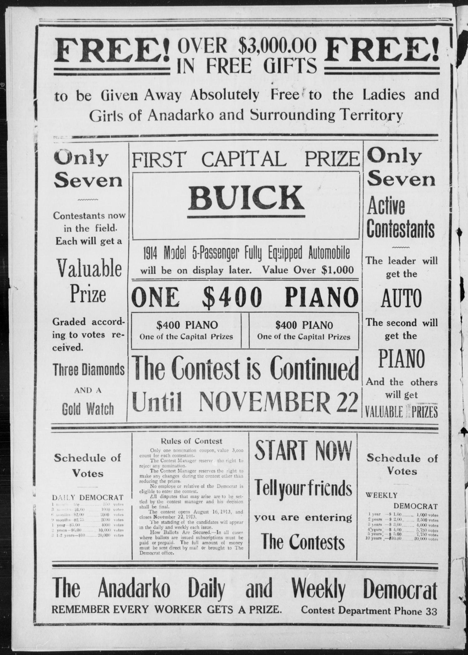 Anadarko Daily Democrat (Anadarko, Okla.), Vol. 12, No. 57, Ed. 1, Monday, October 20, 1913                                                                                                      [Sequence #]: 2 of 4