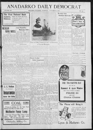 Primary view of object titled 'Anadarko Daily Democrat (Anadarko, Okla.), Vol. 13, No. 33, Ed. 1, Thursday, November 20, 1913'.