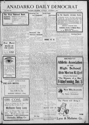 Primary view of object titled 'Anadarko Daily Democrat (Anadarko, Okla.), Vol. 13, No. 44, Ed. 1, Thursday, December 4, 1913'.