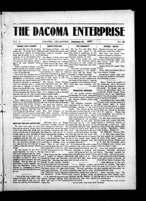 Primary view of object titled 'The Dacoma Enterprise (Dacoma, Okla.), Vol. 4, No. 39, Ed. 1 Friday, January 21, 1916'.
