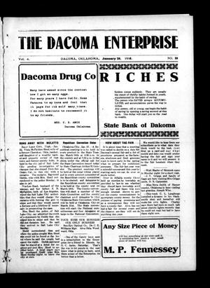 Primary view of object titled 'The Dacoma Enterprise (Dacoma, Okla.), Vol. 4, No. 39, Ed. 1 Friday, January 28, 1916'.