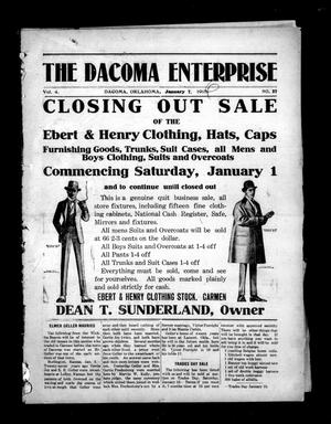 Primary view of object titled 'The Dacoma Enterprise (Dacoma, Okla.), Vol. 4, No. 37, Ed. 1 Friday, January 7, 1916'.
