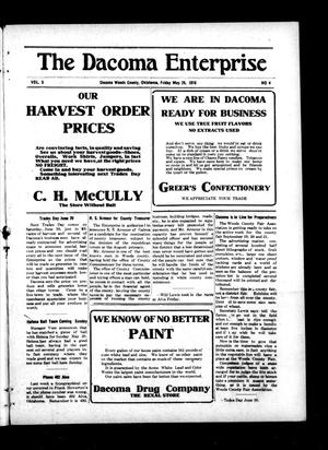 Primary view of object titled 'The Dacoma Enterprise (Dacoma, Okla.), Vol. 5, No. 4, Ed. 1 Friday, May 26, 1916'.