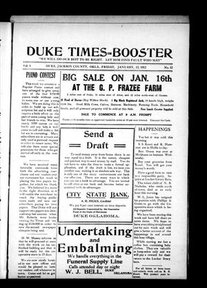 Primary view of object titled 'Duke Times--Booster (Duke, Okla.), Vol. 1, No. 32, Ed. 1 Friday, January 12, 1912'.
