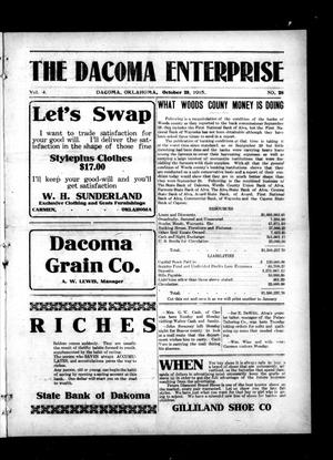 Primary view of object titled 'The Dacoma Enterprise (Dacoma, Okla.), Vol. 4, No. 28, Ed. 1 Friday, October 29, 1915'.