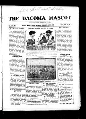 Primary view of object titled 'The Dacoma Mascot (Dacoma, Okla.), Vol. 1, No. 26, Ed. 1 Thursday, May 9, 1918'.