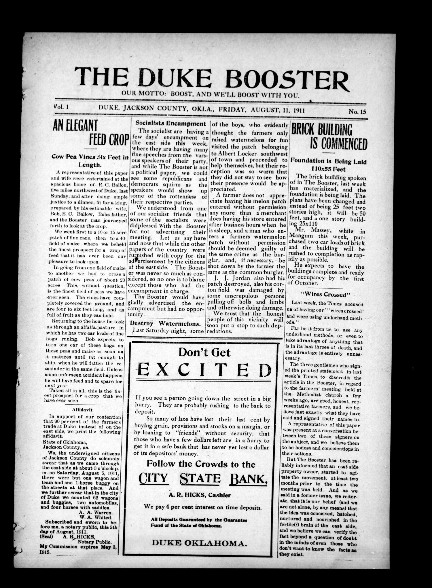 The Duke Booster (Duke, Okla.), Vol. 1, No. 15, Ed. 1 Friday, August 11, 1911                                                                                                      [Sequence #]: 1 of 8