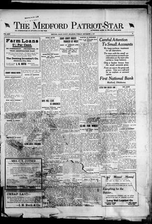 Primary view of The Medford Patriot-Star. (Medford, Okla.), Vol. 24, No. 75, Ed. 1 Tuesday, September 4, 1917