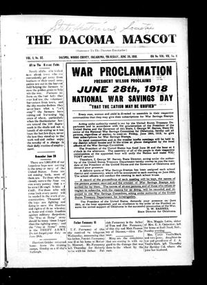 Primary view of object titled 'The Dacoma Mascot (Dacoma, Okla.), Vol. 1, No. 32, Ed. 1 Thursday, June 20, 1918'.