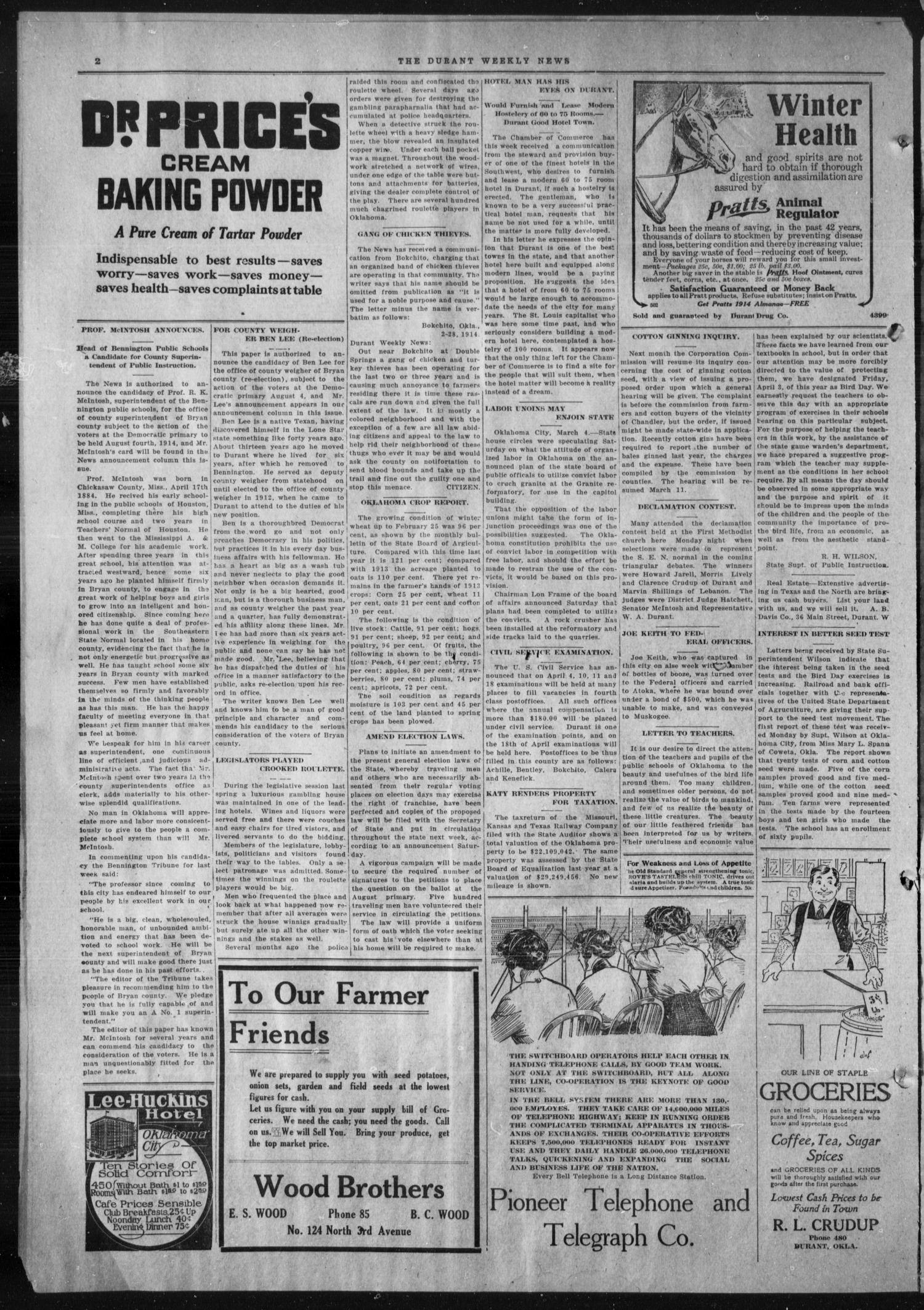 Durant Weekly News (Durant, Okla.), Vol. 18, No. 10, Ed. 1, Friday, March 6, 1914                                                                                                      [Sequence #]: 2 of 8