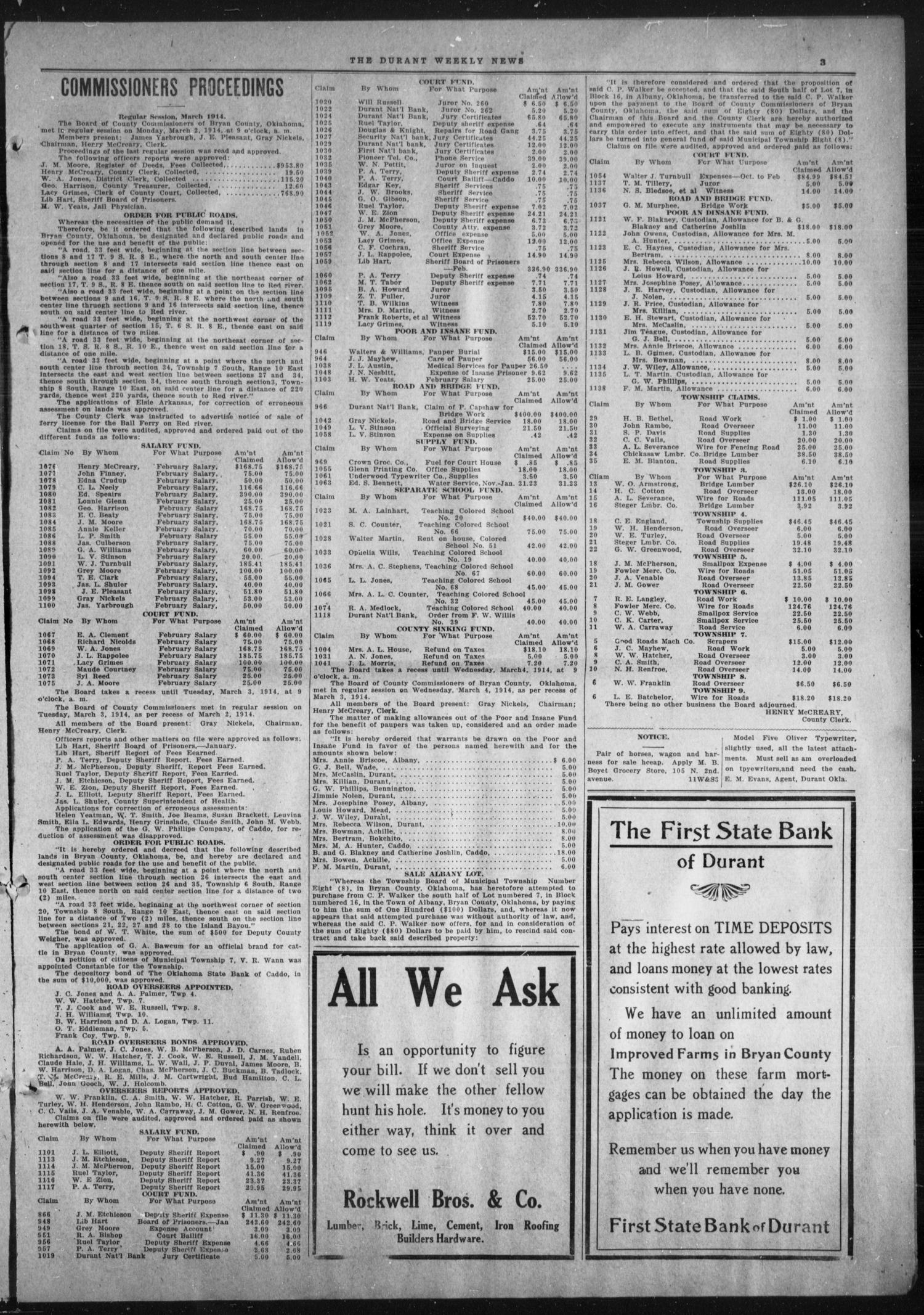Durant Weekly News (Durant, Okla.), Vol. 18, No. 11, Ed. 1, Friday, March 13, 1914                                                                                                      [Sequence #]: 3 of 8