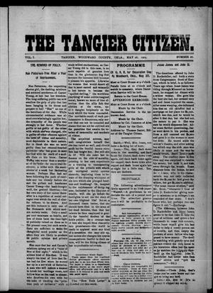 Primary view of object titled 'The Tangier Citizen. (Tangier, Okla.), Vol. 1, No. 27, Ed. 1 Friday, May 26, 1905'.