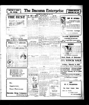 Primary view of object titled 'The Dacoma Enterprise (Dacoma, Okla.), Vol. 5, No. 44, Ed. 1 Friday, March 2, 1917'.