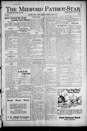 Primary view of object titled 'The Medford Patriot-Star. (Medford, Okla.), Vol. 24, No. 36, Ed. 1 Thursday, April 19, 1917'.