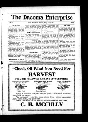 Primary view of object titled 'The Dacoma Enterprise (Dacoma, Okla.), Vol. 5, No. 5, Ed. 1 Friday, June 2, 1916'.
