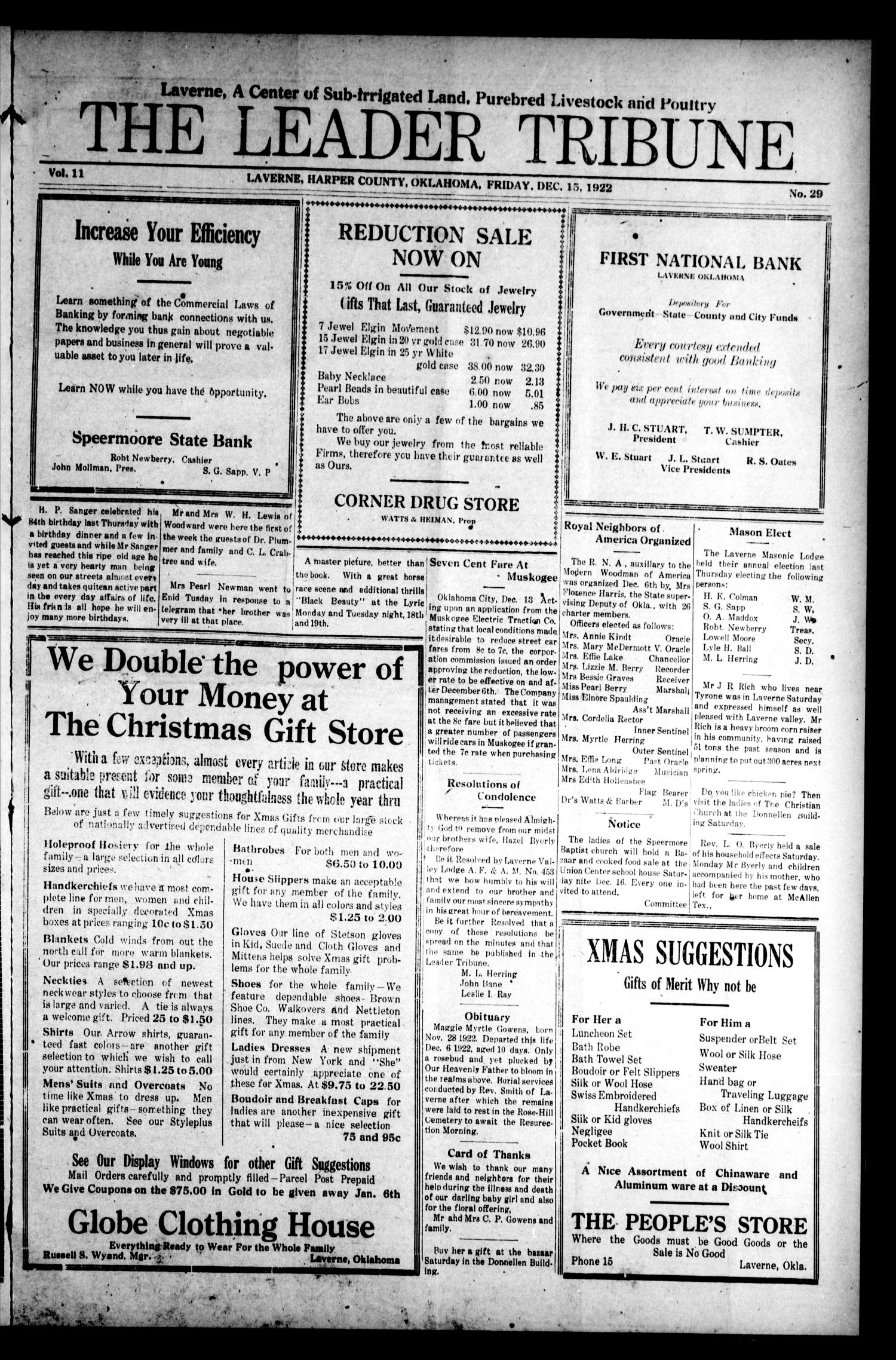 The Leader Tribune (Laverne, Okla.), Vol. 11, No. 29, Ed. 1 Friday, December 15, 1922                                                                                                      [Sequence #]: 1 of 10