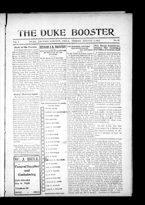 Primary view of object titled 'The Duke Booster (Duke, Okla.), Vol. 2, No. 14, Ed. 1 Friday, August 2, 1912'.