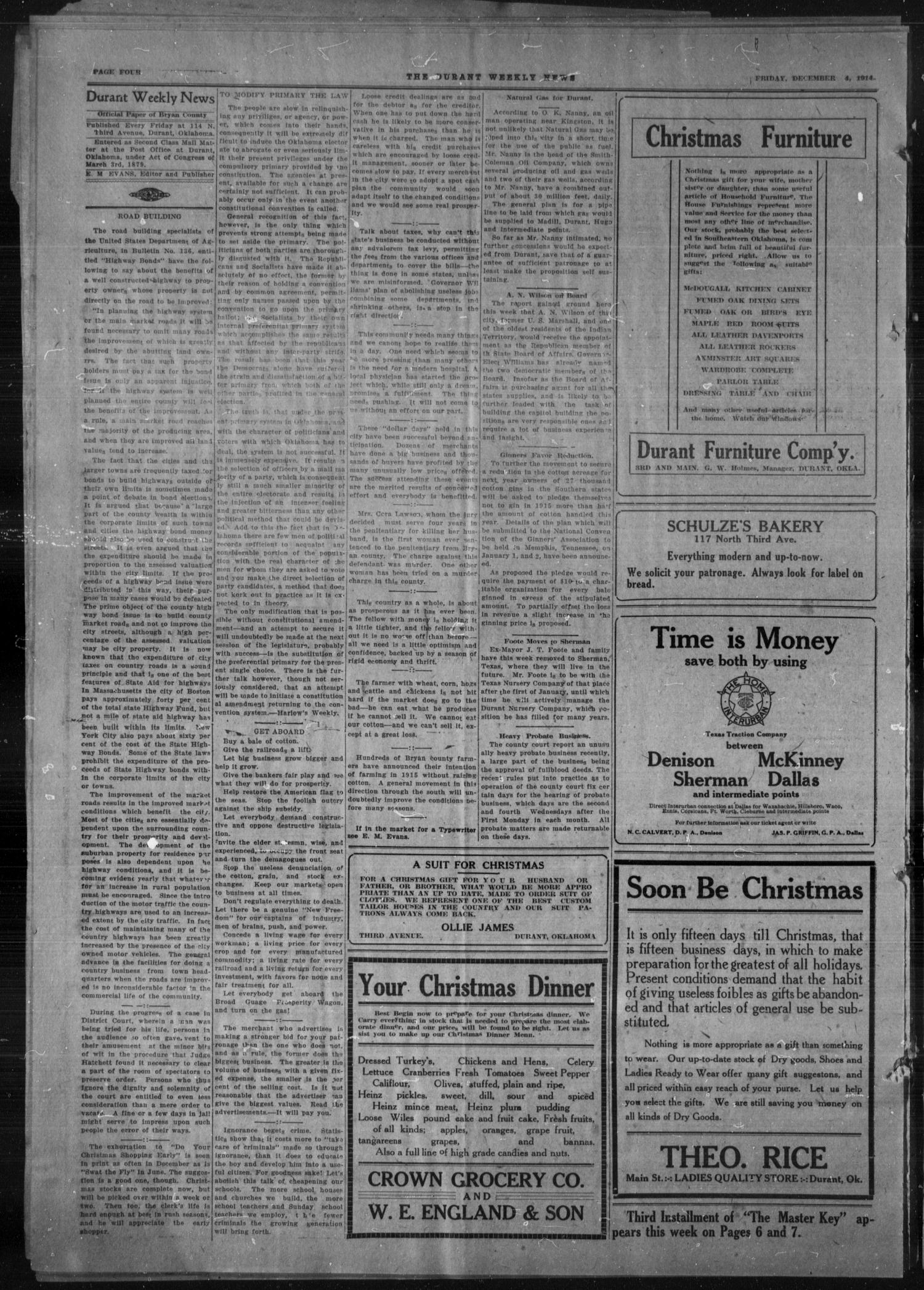 Durant Weekly News (Durant, Okla.), Vol. 18, No. 49, Ed. 1, Friday, December 4, 1914                                                                                                      [Sequence #]: 4 of 8