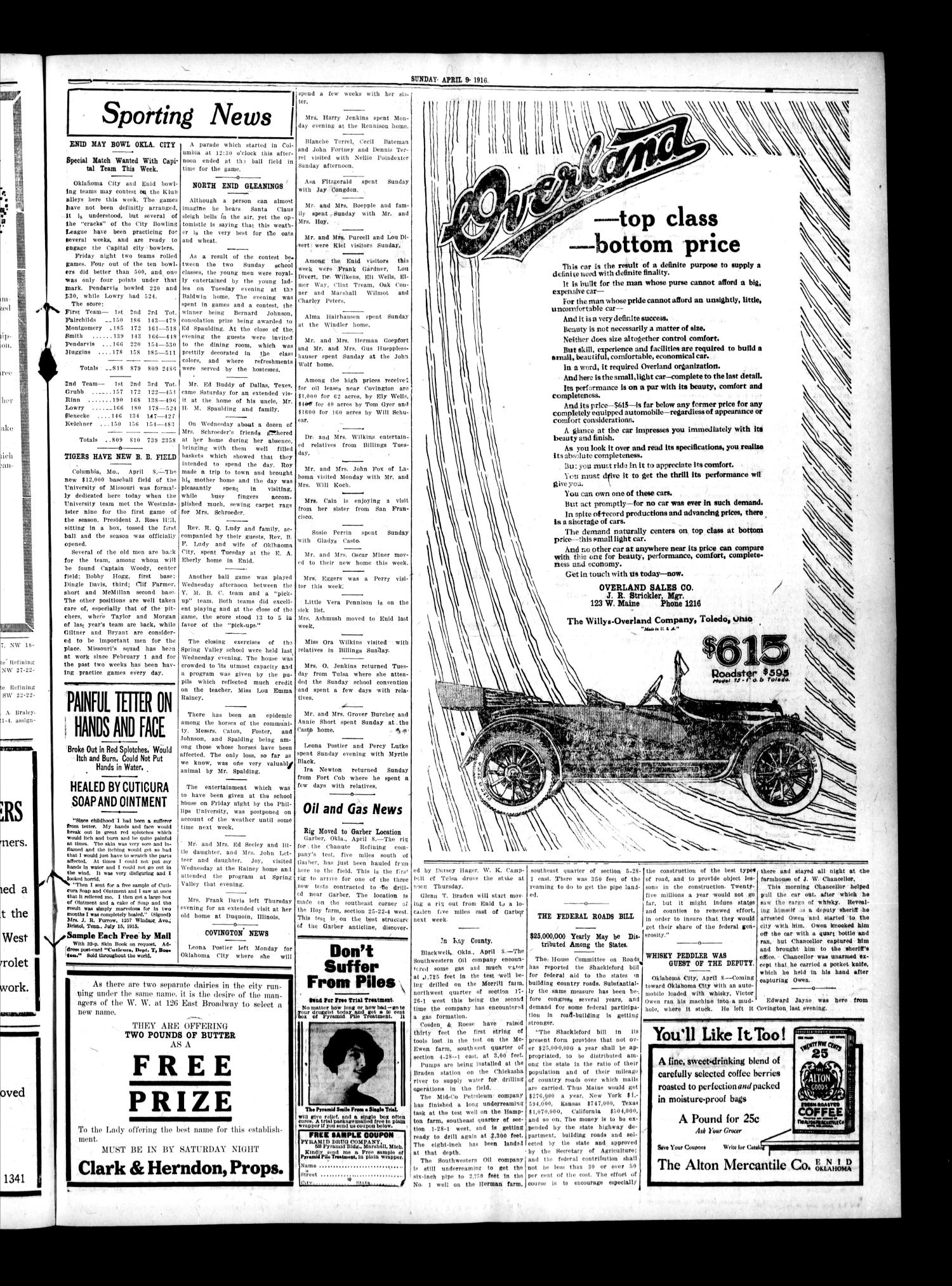The Enid Daily Eagle (Enid, Okla.), Vol. 15, No. 70, Ed. 1 Sunday, April 9, 1916                                                                                                      [Sequence #]: 3 of 12