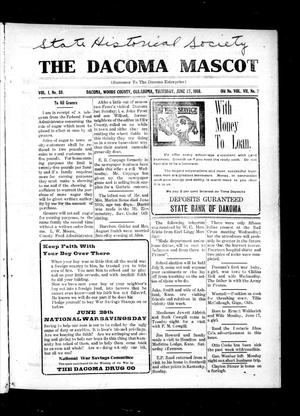 Primary view of object titled 'The Dacoma Mascot (Dacoma, Okla.), Vol. 1, No. 33, Ed. 1 Thursday, June 27, 1918'.