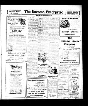 Primary view of object titled 'The Dacoma Enterprise (Dacoma, Okla.), Vol. 5, No. 50, Ed. 1 Friday, April 13, 1917'.