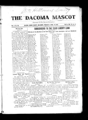 Primary view of object titled 'The Dacoma Mascot (Dacoma, Okla.), Vol. 1, No. 23, Ed. 1 Thursday, April 18, 1918'.