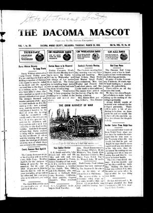 Primary view of object titled 'The Dacoma Mascot (Dacoma, Okla.), Vol. 1, No. 20, Ed. 1 Thursday, March 28, 1918'.