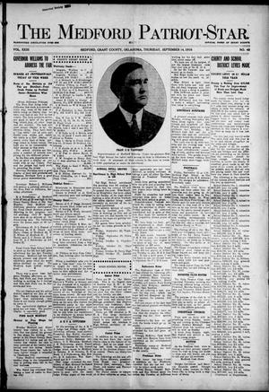 Primary view of object titled 'The Medford Patriot-Star. (Medford, Okla.), Vol. 23, No. 48, Ed. 1 Thursday, September 14, 1916'.