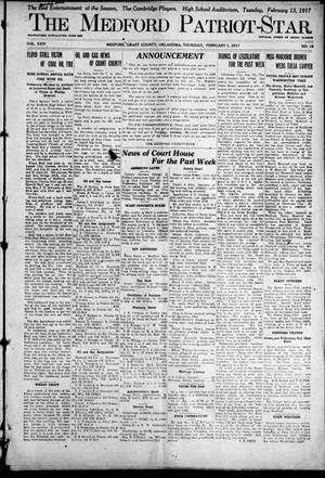 Primary view of object titled 'The Medford Patriot-Star. (Medford, Okla.), Vol. 24, No. 16, Ed. 1 Thursday, February 1, 1917'.