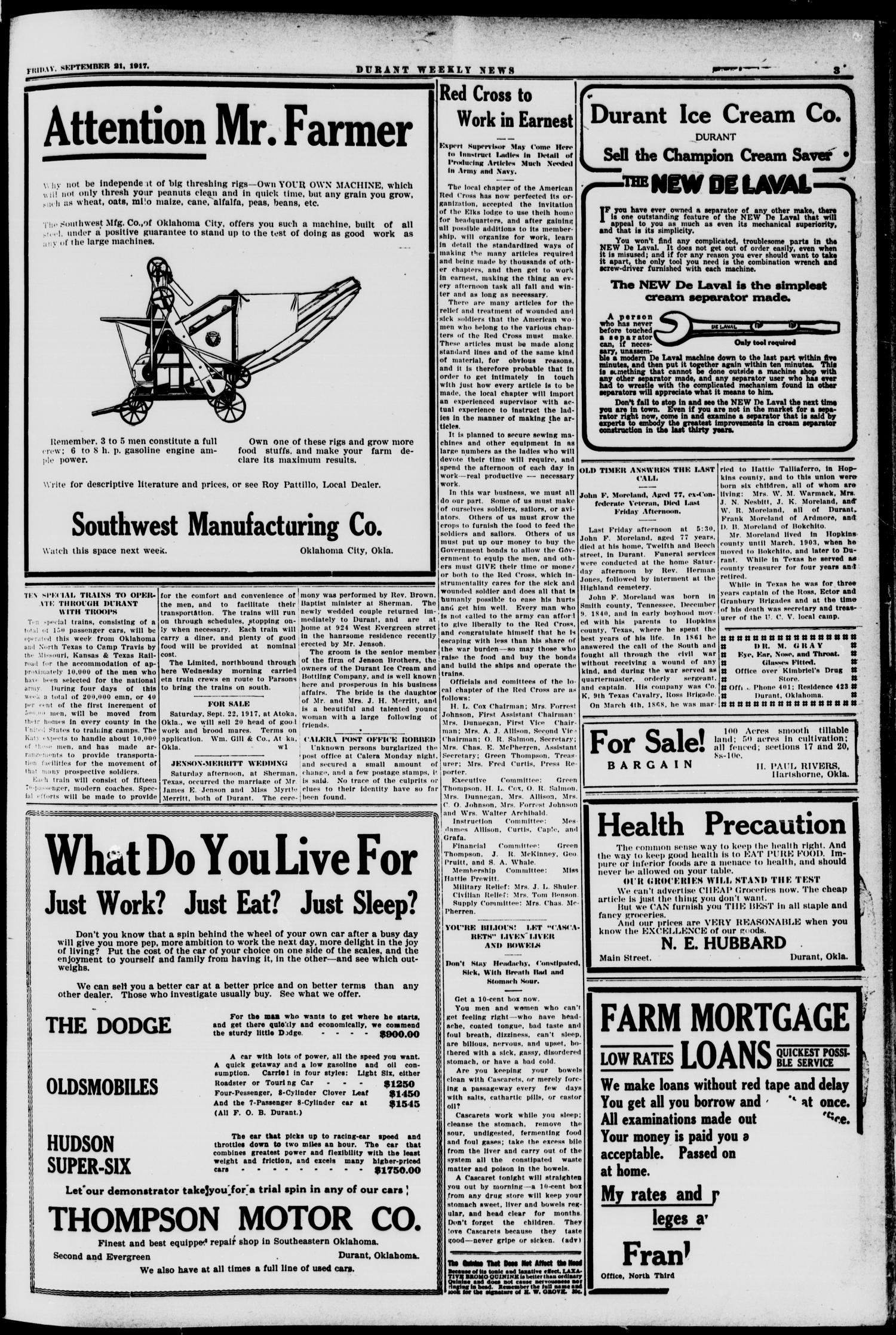 Durant Weekly News (Durant, Okla.), Vol. 21, No. 38, Ed. 1, Friday, September 21, 1917                                                                                                      [Sequence #]: 3 of 10