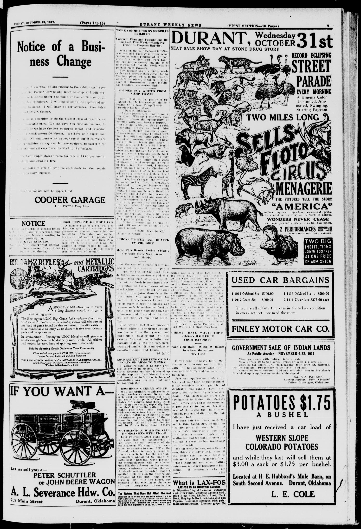 Durant Weekly News (Durant, Okla.), Vol. 21, No. 42, Ed. 1, Friday, October 19, 1917                                                                                                      [Sequence #]: 3 of 18