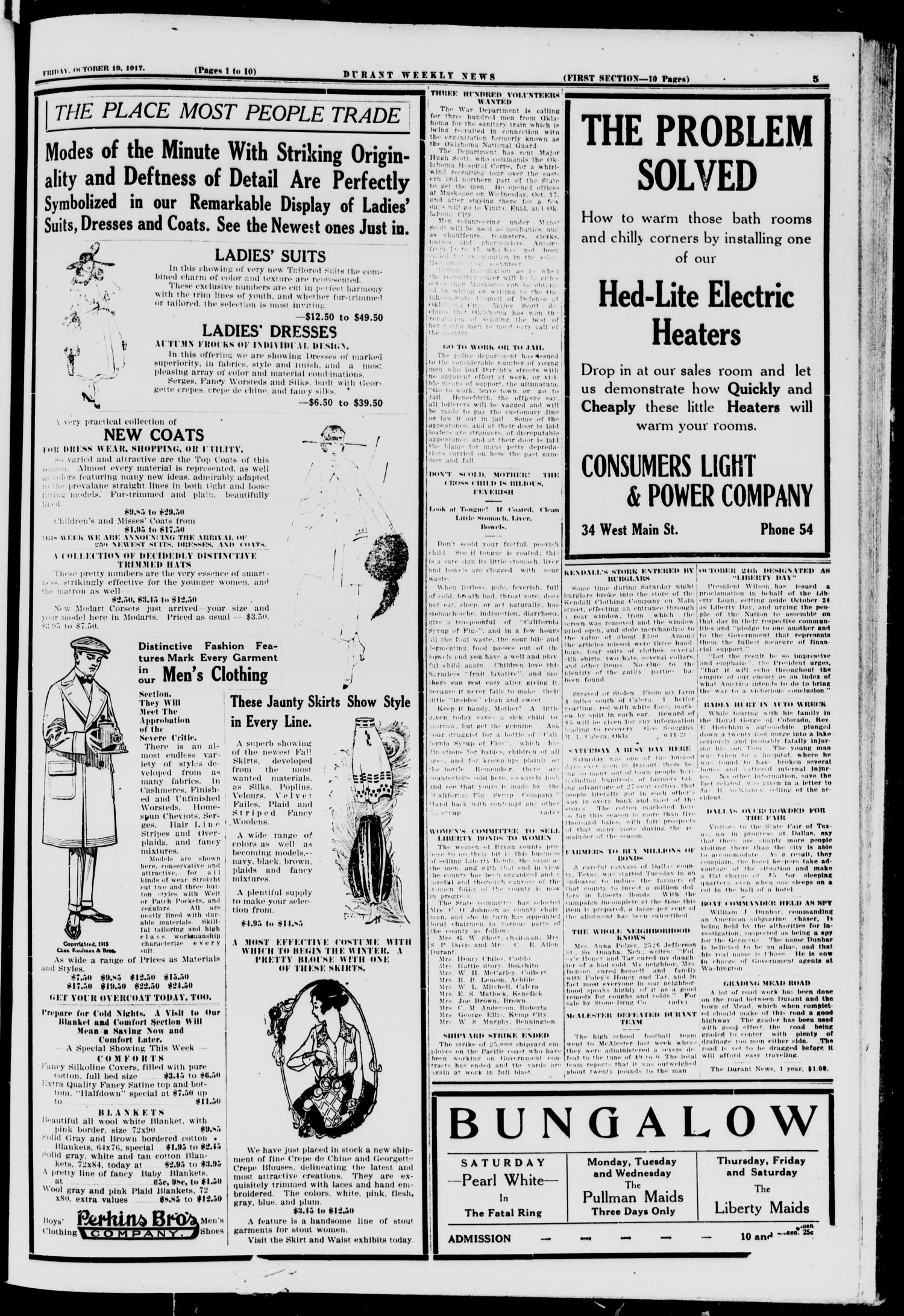 Durant Weekly News (Durant, Okla.), Vol. 21, No. 42, Ed. 1, Friday, October 19, 1917                                                                                                      [Sequence #]: 5 of 18