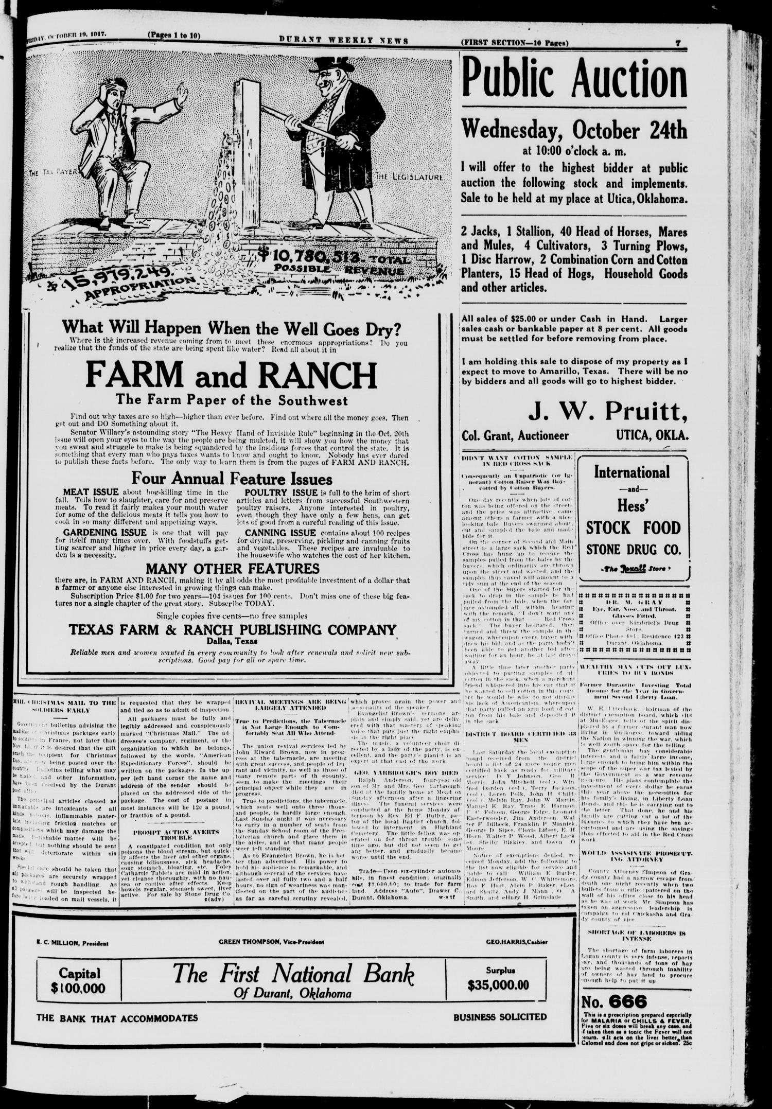 Durant Weekly News (Durant, Okla.), Vol. 21, No. 42, Ed. 1, Friday, October 19, 1917                                                                                                      [Sequence #]: 7 of 18