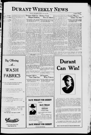 Primary view of object titled 'Durant Weekly News (Durant, Okla.), Vol. 22, No. 30, Ed. 1, Friday, July 26, 1918'.