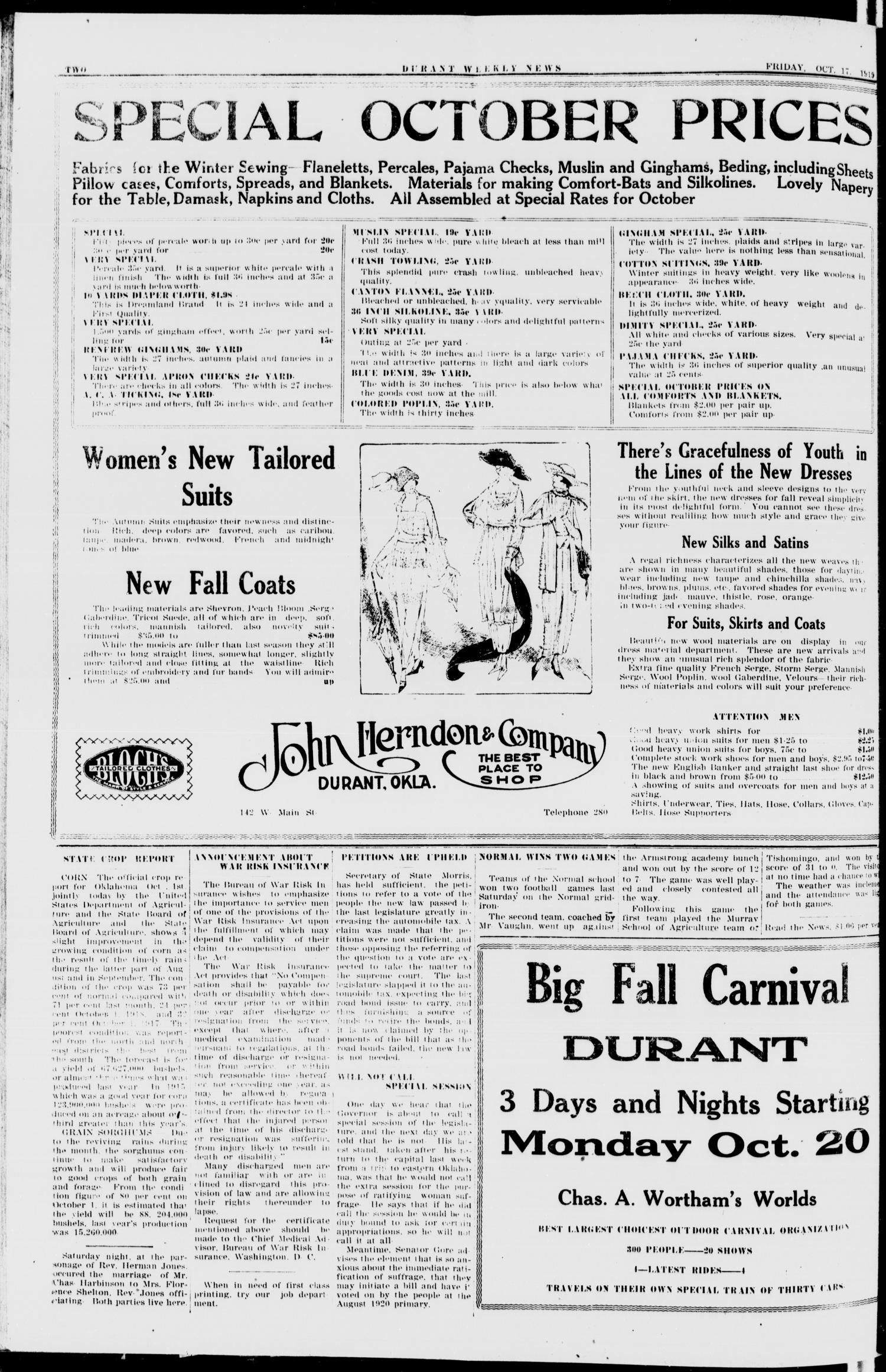 Durant Weekly News (Durant, Okla.), Vol. 22, No. 42, Ed. 1, Friday, October 17, 1919                                                                                                      [Sequence #]: 2 of 20