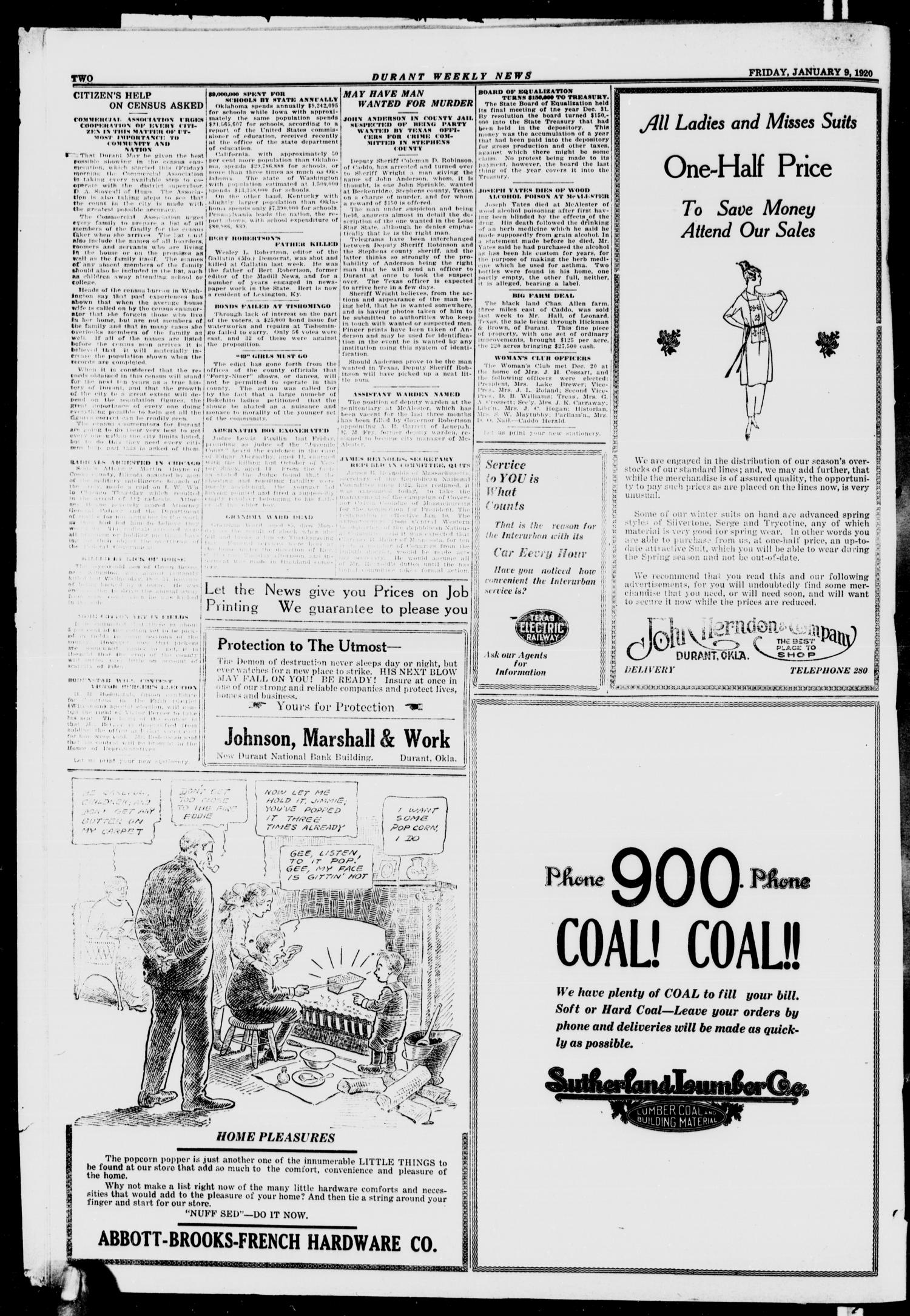 Durant Weekly News (Durant, Okla.), Vol. 22, No. 1, Ed. 1, Friday, January 9, 1920                                                                                                      [Sequence #]: 2 of 8