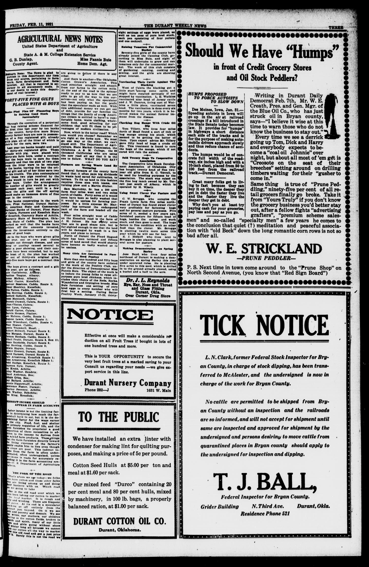 The Durant Weekly News (Durant, Okla.), Vol. 24, No. 6, Ed. 1, Friday, February 11, 1921                                                                                                      [Sequence #]: 3 of 8