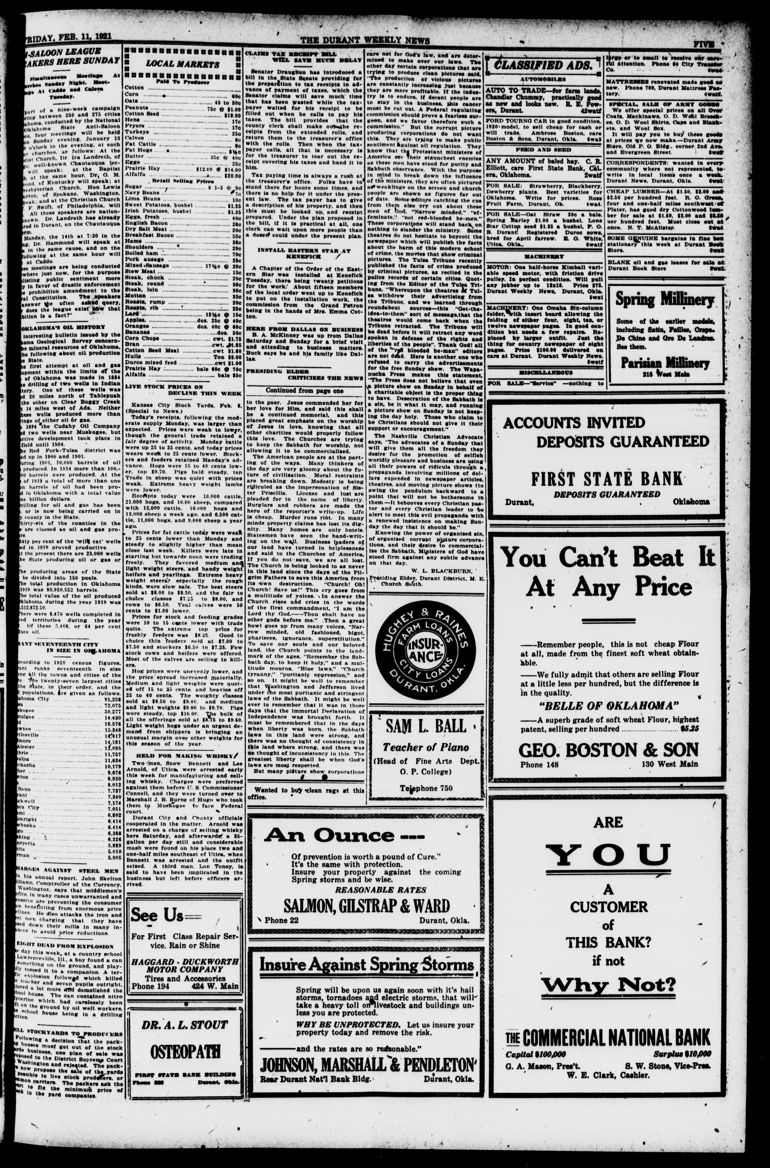 The Durant Weekly News (Durant, Okla.), Vol. 24, No. 6, Ed. 1, Friday, February 11, 1921                                                                                                      [Sequence #]: 5 of 8